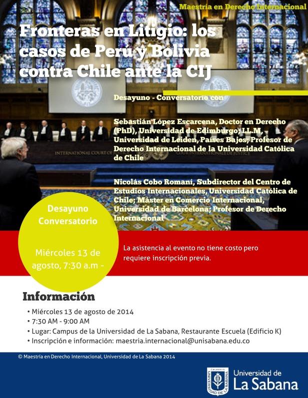 Desayuno Conversatorio Fronteras en Litigio- Perú y Bolivia contra Chile ante la CIJ